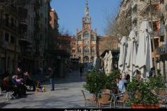 Gaudi avenue naar hospital Santa Creu Barcelona met kinderen
