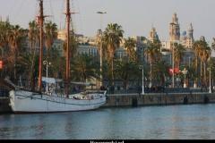 Havengebied Barcelona met kinderen