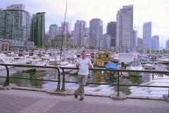 Glazen stad Vancouver Canada met kinderen