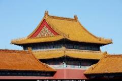 Dak van de verboden stad Beijing met kinderen
