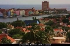 Curacao's hoofdstad vanaf een hooggelegen punt Curacao met kinderen