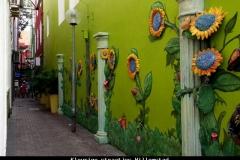 Kleurige straatjes Willemstad Curacao met kinderen