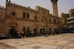 Amman oude Al Husseini Moskee Jordanië met kinderen