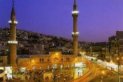 Amman oude Al-Husseini Moskee Jordanië met kinderen