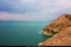 Dode zee uitzicht Jordanië met kinderen