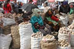 Markt van Shahrisabz Oezbekistan met kinderen