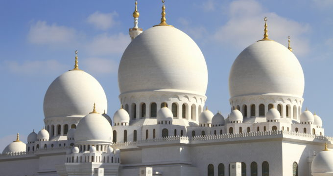 Zajed moskee Abu Dhabi met kinderen