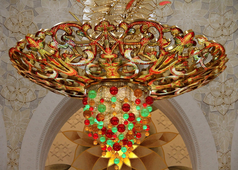 Glasmozaiek Sjeikh Zajed moskee Abu Dhabi met kinderen