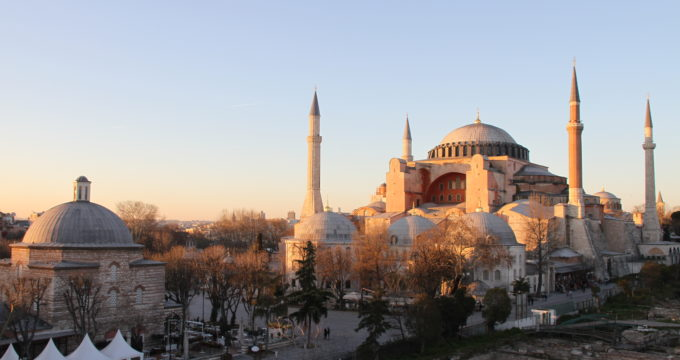 Aya Sofia moskee Istanbul met kinderen reisfoto's