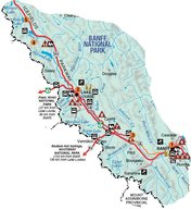 Kaart Banff nationaal park Canada met kinderen