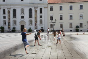 Waterpret grote plein Gyor Hongarije
